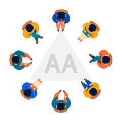 "Colorful clip art of an arial view of 8 people sitting in a circle around a triangle, presumably on the floor, that says ""AA"" and meant to represent Alcoholics Anonymous."