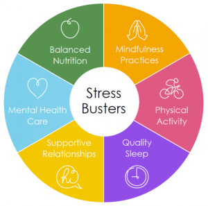 "A wheel chart titled ""Stress Busters"", aimed at coping with coronavirus stress that has 6 segments including Balanced nutrition, Mindful Practices, Physical Activity, Quality Sleep, Supportive Relationships and Mental Health Care."